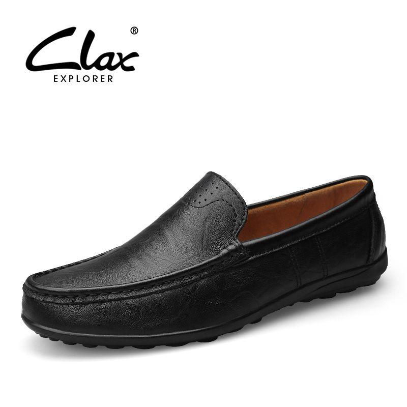 Clax hombres cuero Mocasines diseñador 2018 hombres mocasín Cuero auténtico hombre vestido negro zapato slipony marca de lujo clásico