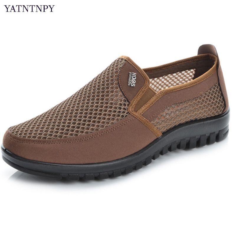 YATNTNPY Maille D'été Chaussures Hommes Slip-on Plat Sapatos évider Confortable Père Chaussures Homme Casual Mocassins espadrilles De Base