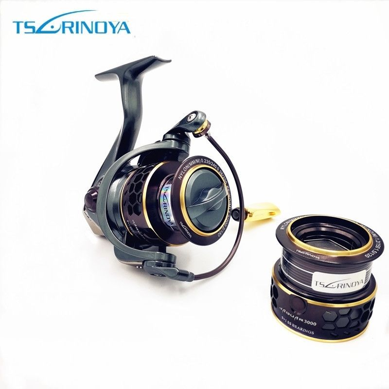 TSURINOYA Jaguar 1000 2000 3000 9+1BB Fishing Spinning Reel Carp Saltwater Fishing Reel Spinning Metal Handle 2 Spool Reels Coil