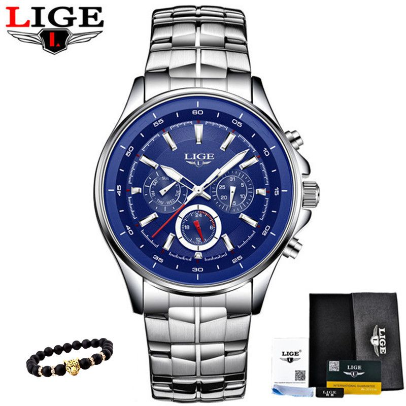 LIGE Watches Men Fashion Brand Multifunction Chronograph Quartz Watch Man Military Sport Wristwatch Male Clock Relogio Masculino