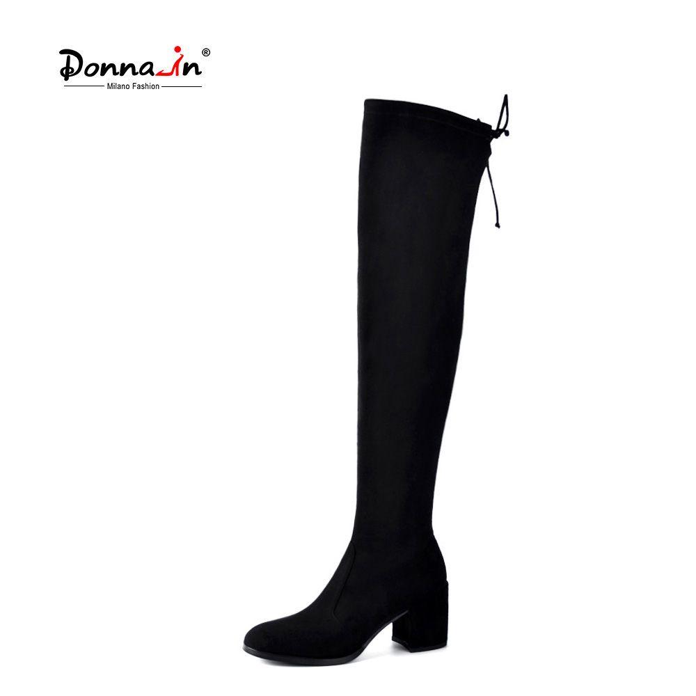 Donna-в сапоги до бедра модные сапоги выше колен Сапоги и ботинки для девочек Для женщин стрейч носок ботинки с высоким голенищем квадратный н...