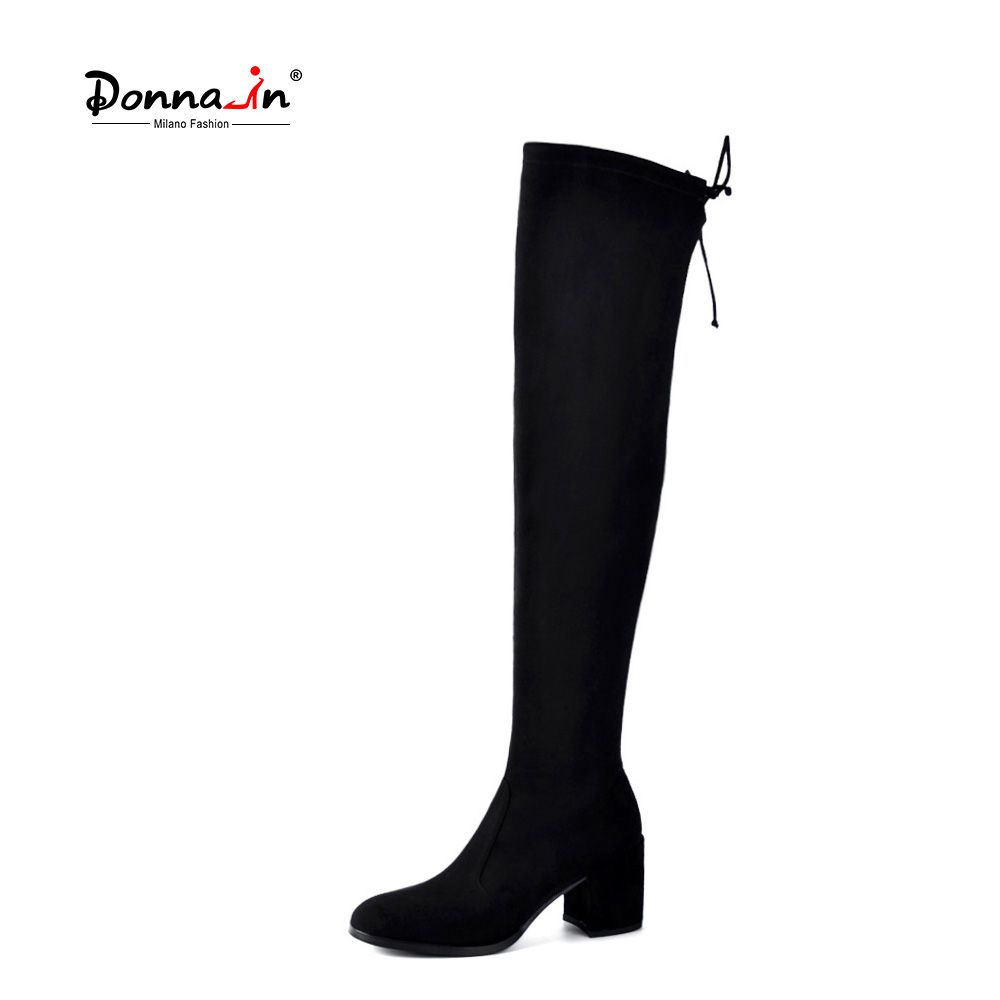 Donna-in Thigh High Boots Fashion over the Knee Boots Women Stretch Sock Long Boots Square Toe Thick High Heels Black Shoes Lady