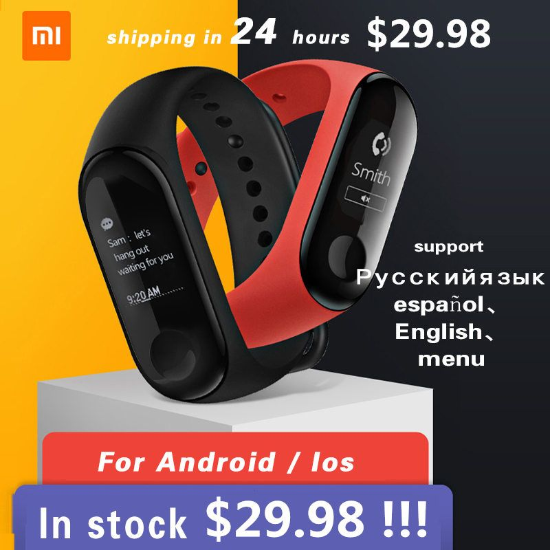 NEW Xiaomi Mi Band 3 Miband 3 Fitness Tracker Heart Rate Monitor 0.78'' OLED Display Touchpad Bluetooth 4.2 For Android IOS