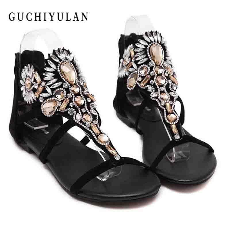 2018 Woman Sandals Women Shoes Rhinestones Chains Thong Gladiator Flat Sandals Crystal flip flops women Chaussure tenis feminino
