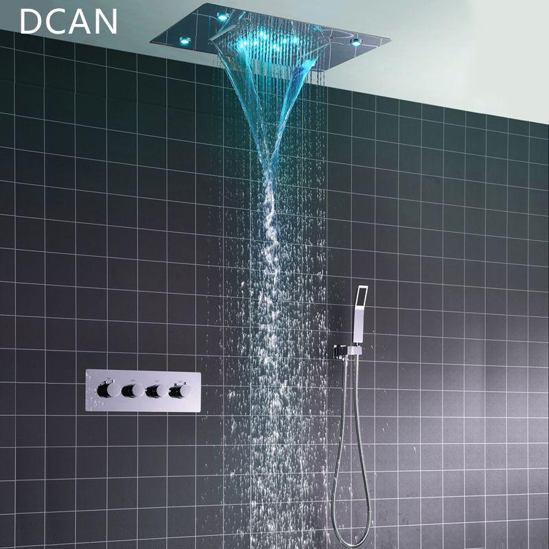 DCAN Decke Montieren Platz Fixiert Regen Dusche Kopf mit 3 Weg Thermostat Badezimmer Dusche Wasserhahn Chrom Handheld Dusche System