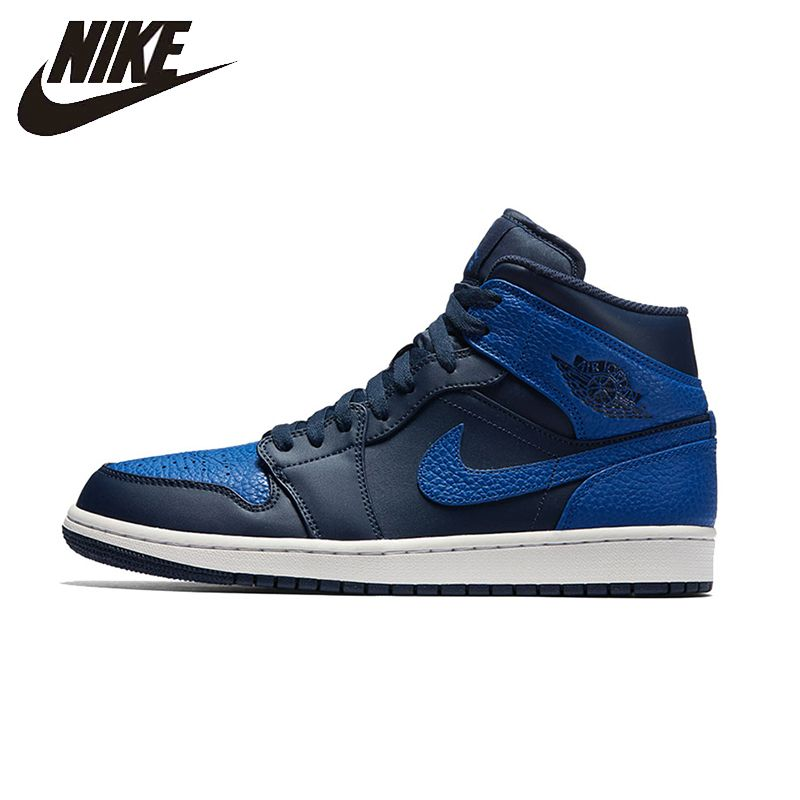 NIKE Air Jordan 1 Mid AJ1 Mens Basketball Schuhe Atmungsaktive Schuhe Super Licht Unterstützung Sport Turnschuhe Für Männer Schuhe #554724-412