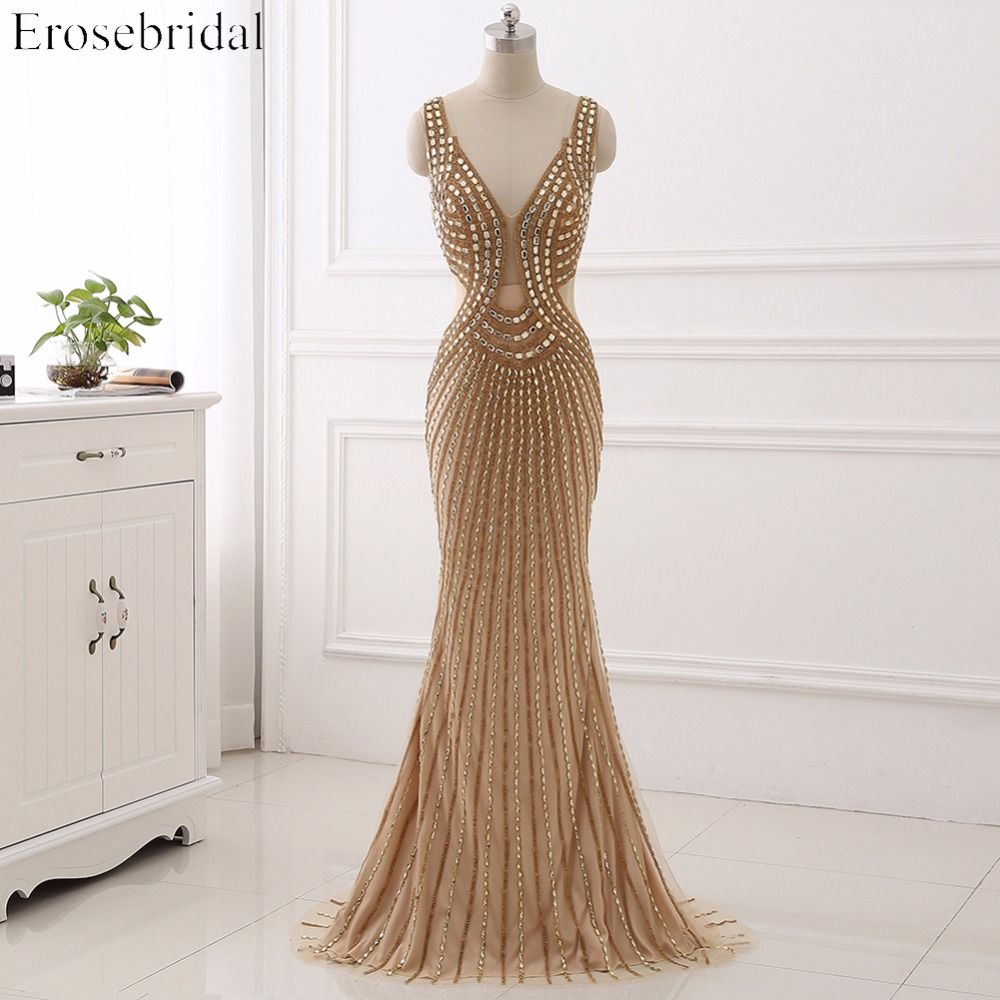 2017 Sexy V-Neck Golden Beading Evening Dress Sleeveless Deep Backless Mermaid  Evening Gown Party Dress vestido de festa YY193
