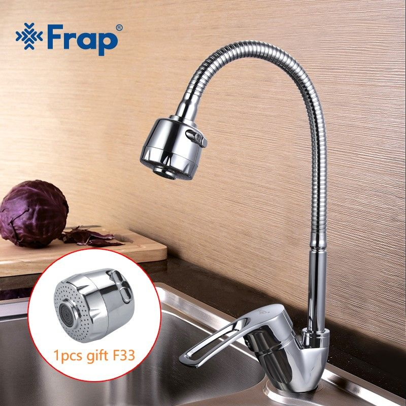 FRAP Solid Kitchen Mixer with 1pc Sprinkler head Cold and Hot flexible Single lever Hole Water Tap Faucet Torneira F43701-B+F33