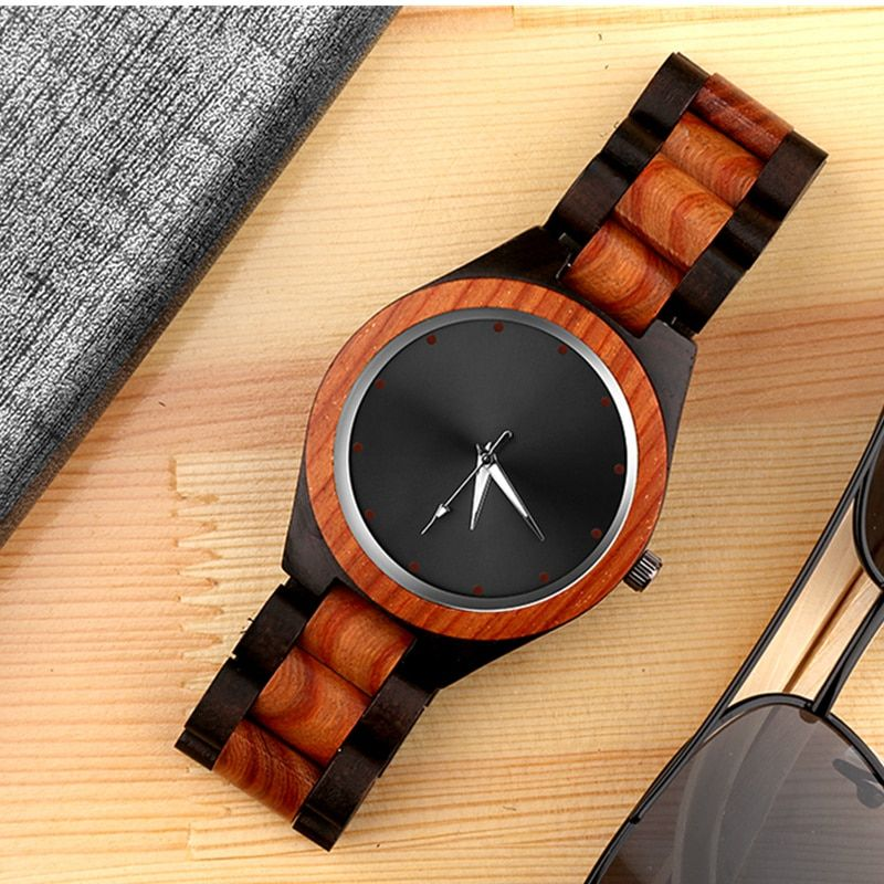 Luxury Wood Watch Men Unique Wooden Watches Fashion Creative Men's Watch Men Watch Wooden Clock reloj madera erkek kol saati