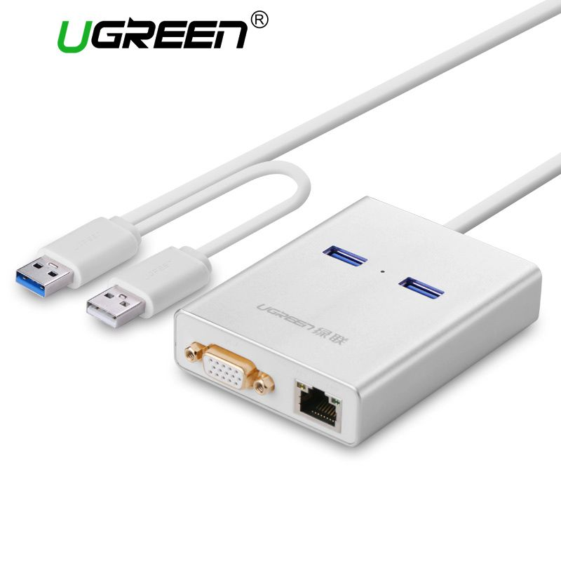 Ugreen USB 3.0 to HDMI VGA Video Display Graphic Card External Cable Adapter Gigabit Ethernet 2 Ports Hub for Windows 7/8/10