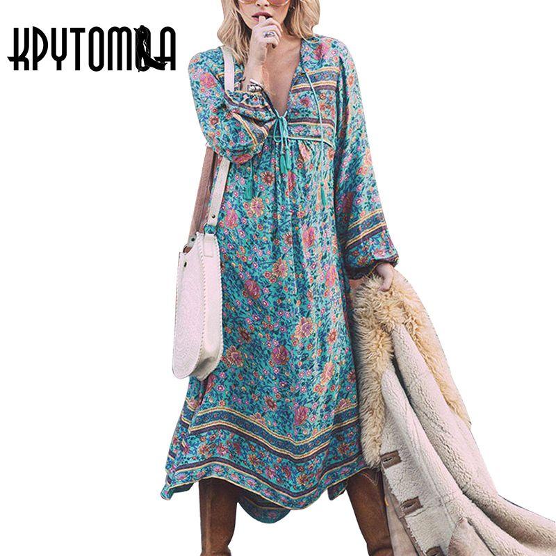 Boho Chic Summer Vintage Floral Print Tassel Dress Women 2018 Fashion V Neck <font><b>Lantern</b></font> Sleeve Beach Dresses Casual Femme Vestidos