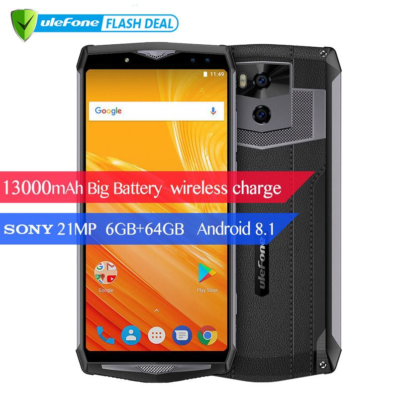Ulefone Power 5 13000mAh 4G Smartphone 6.0 FHD MTK6763 Octa Core Android 8.1 6GB+64GB 21MP Wireless charger Fingprint Face ID