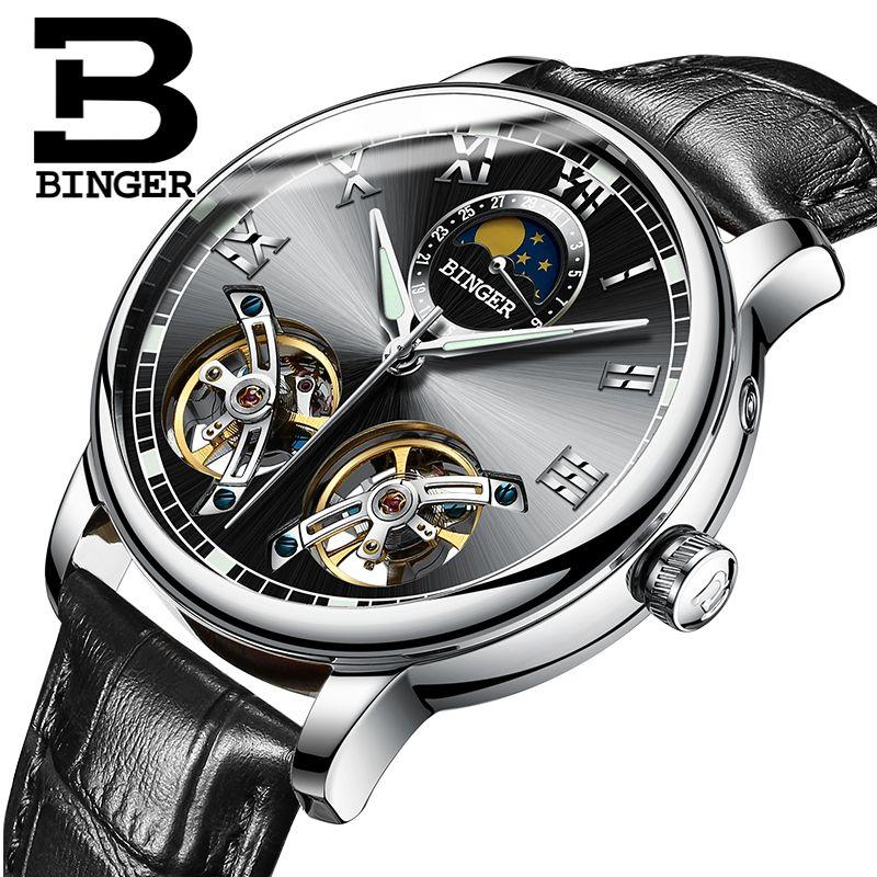 Switzerland watches men luxury brand BINGER sapphire Water Resistant toubillon full steel Mechanical Wristwatches B-8607M-4