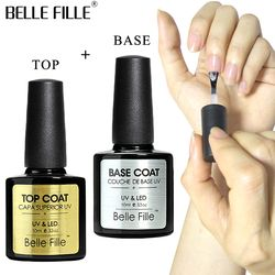 BELLE FILLE Base Et Top Coat Gel Vernis À Ongles UV 10 ml Transparent Soak Off Primer Gel Gel Vernis Laque Nail Art Pas Essuyer Top