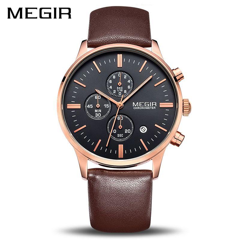 MEGIR Original Watch Men Top Brand Luxury Men Watch Leather Clock Men Watches Relogio <font><b>Masculino</b></font> Horloges Mannen Erkek Saat