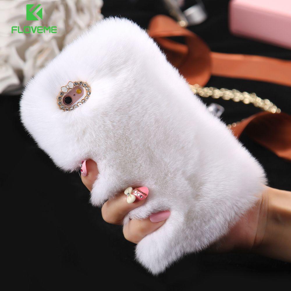 FLOVEME Pour iPhone X 6 6 s Plus De Fourrure De Lapin Cheveux Cas Pour iPhone 5 5S SE 6 6 S 7 X Glitter Diamant Cas Pour iPhone 7 8 Plus 6 6 S