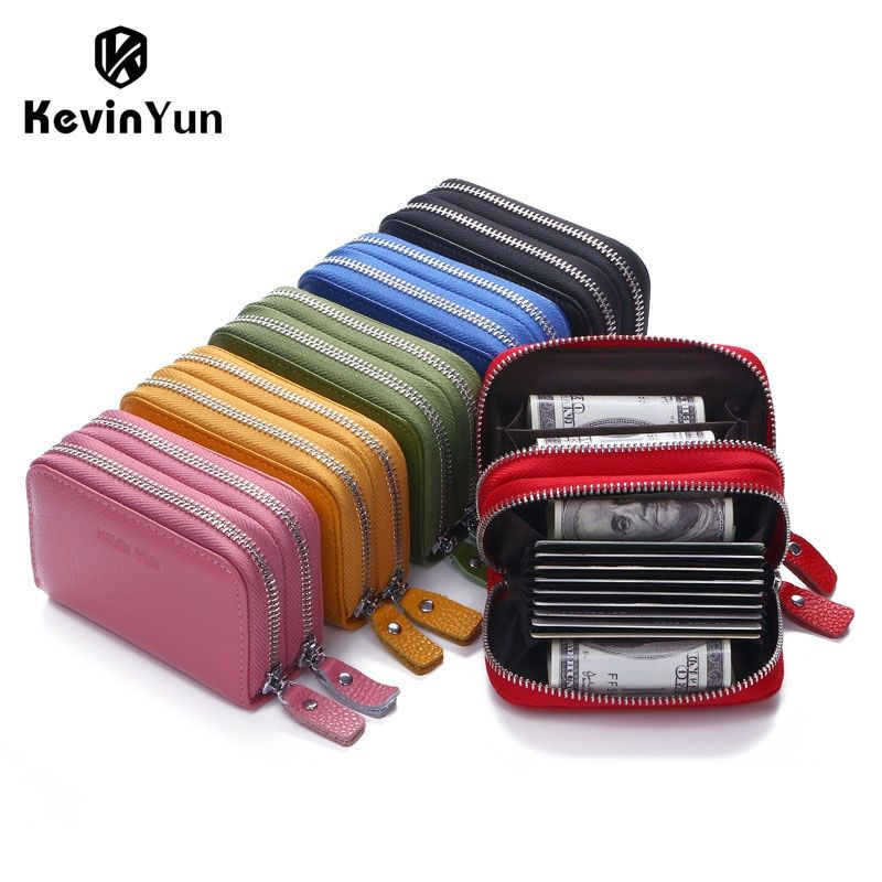 Кевин Юн дизайнерские брендовые Модные женские визитница двойная молния натуральная кожа бумажник кредитные карты сумка