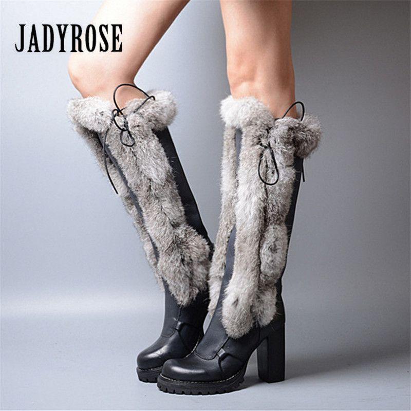Jady Rose 2019 New Women Knee High Boots Winter Warm Snow Boots Rabbit Fur High Heel Platform Botas Mujer Lace Up Long Boot