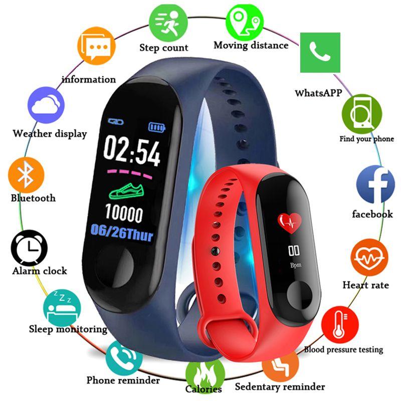 Bluetooth Sport bracelet intelligent pression artérielle moniteur de fréquence cardiaque M3 bande intelligente Fitness Tracker podomètre bande pour hommes femmes
