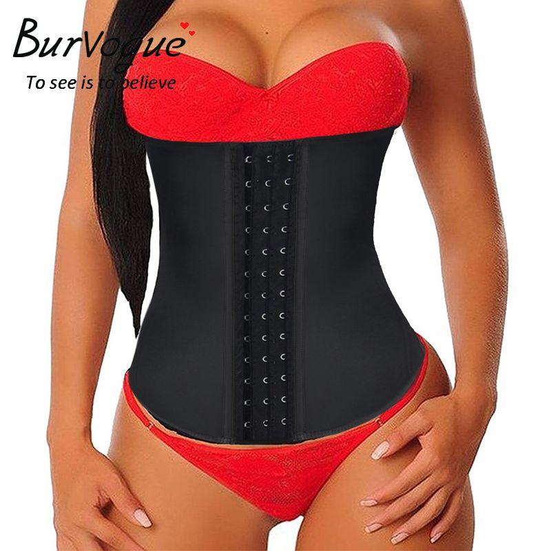 Burvogue Women Latex Corset <font><b>Waist</b></font> Control Corset and Bustier Steel Bone Underbust <font><b>Waist</b></font> Trainer Corset Slimming Shaper Corselet