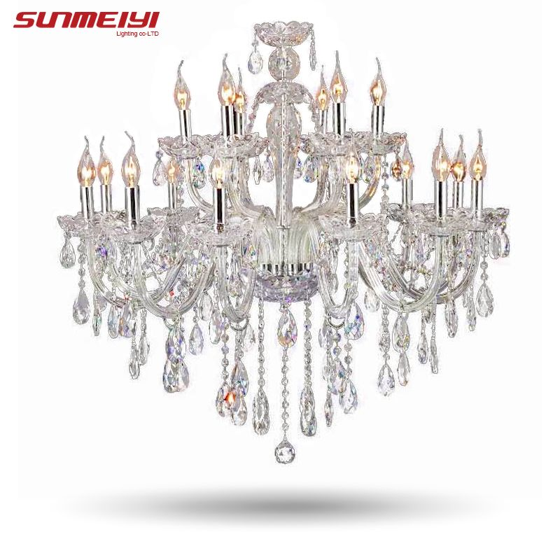 Large Luxury Crystal chandelier Living Room lustre sala de cristal Modern 18 Arm Chandeliers Light Fixture Wedding Decoration