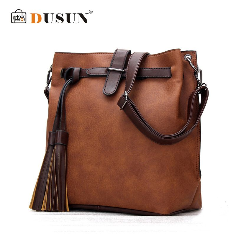 DUSUN brand 2018 new fashion casual tassel totes large capacity ladies simple shopping handbag leather shoulder&crossbody bags