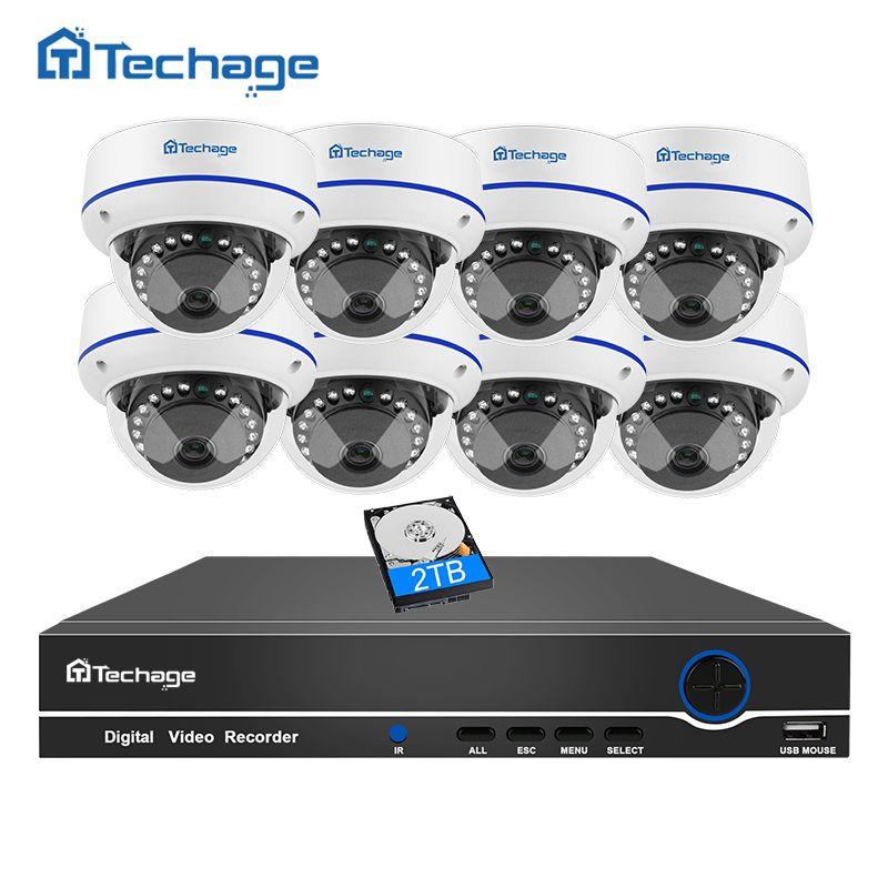 Techage 8CH 1080P CCTV System Security POE NVR Kit 8PCS Dome Indoor VandalProof Anti-vandal IP Camera P2P Onvif Surveillance Set