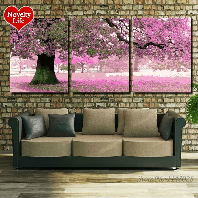 Frame 3 pcs Pictures Diy Painting By Numbers DIY Handmade Digital Oil Paint Cherry Blossoms Trees Home Decoration Sakura Flowers
