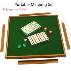 Mini Mahjong Portabel Travel Papan Permainan dengan Meja Lipat Cina Ubin Mahjong Set Ukuran Kecil Mahjiang Kartu Permainan Permainan Keluarga