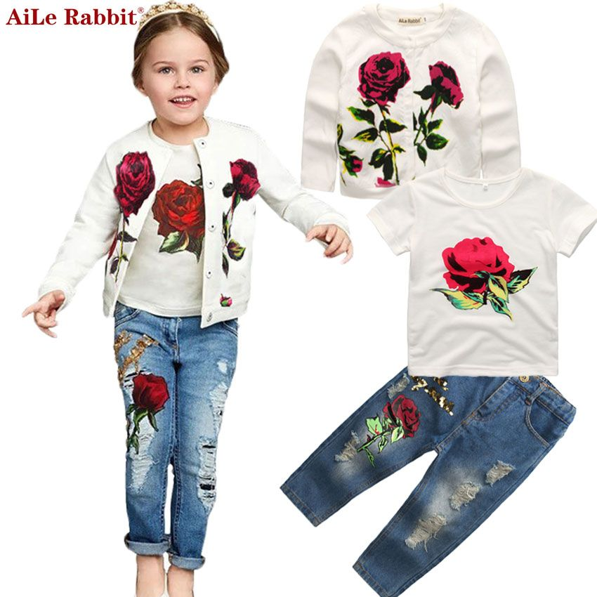 AiLe Rabbit Autumn Newest Girls Clothes Suit Jacket T shirt Jeans 3 Pcs Set Fashion Rose Cardigan Tops Sequin <font><b>Kids</b></font> Coat k1