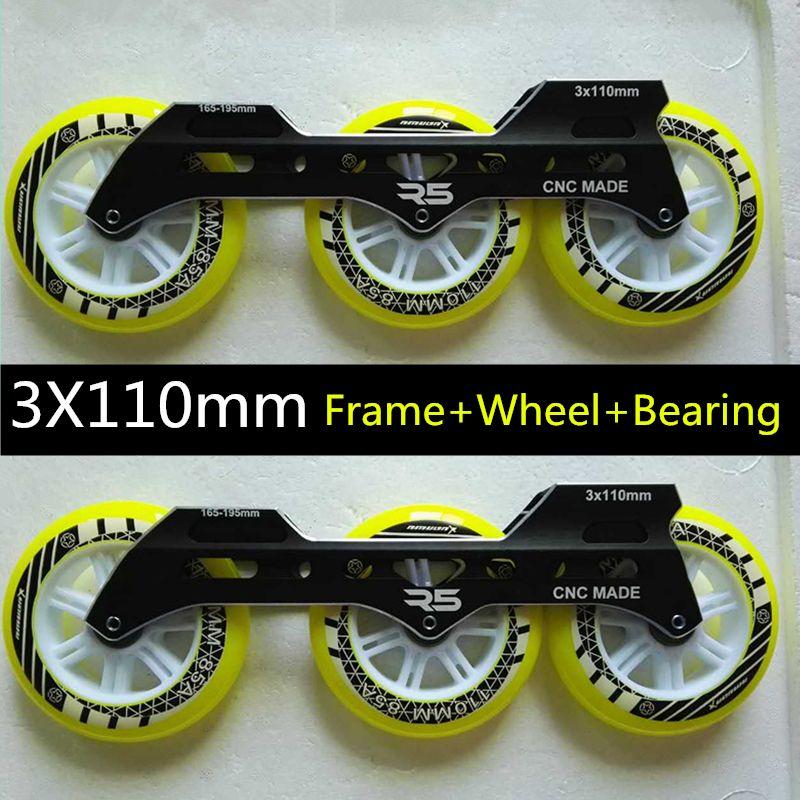 Inline Speed Skates Frame 3X110mm Roller Skating Base ILQ-9 Bearing 110mm Durable PU Skating Wheel Rodas Unbalanced Front Back