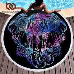 BeddingOutlet Bohème Éléphant Ronde Serviette De Plage Boho Indien Gland Tapisserie Floral Tapis De Yoga Lotus Fleur Toalla Couverture 150 cm