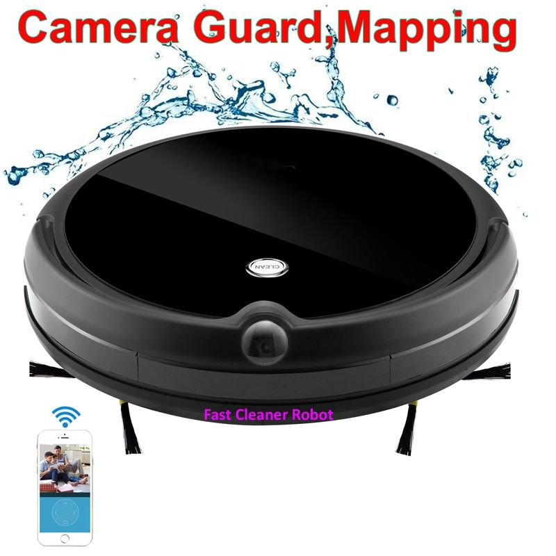 2018 Camera Guard Video Call Wet Dry Electric Vacuum Cleaner Robot With Map Navigation,WiFi App Control,Smart Memory,Water Tank