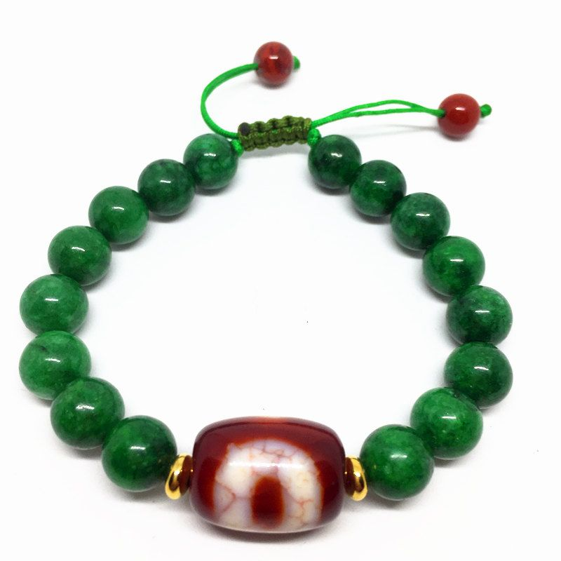 Red Chalcedony Ajustable Bracelet One Eyes Dzi Bead Amulet with Green Jade Beads High Quality Bracelet Bring Good Luck