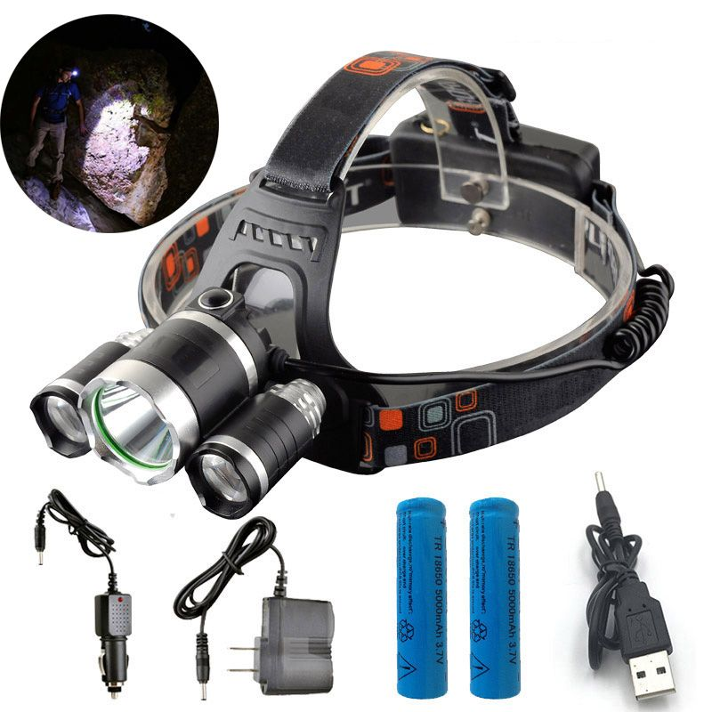 ZK40 13000LM LED Flashlight Forehead Head Lamp Headlight Hunting Camping Fishing Mining Torch Light 18650 Rechargeable Battery