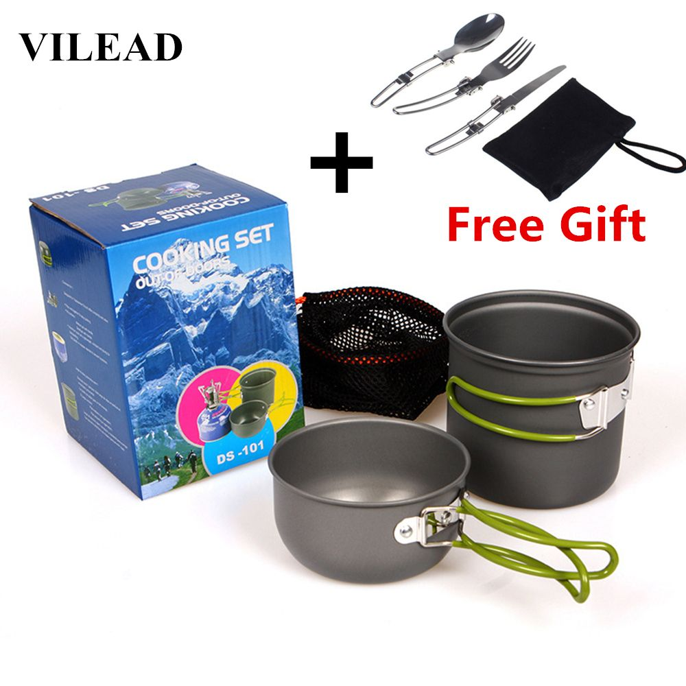 VILEAD Portable Outdoor Tableware Camping Hiking Travel Utensils Picnic Cookware Bowl Pot Pan Set for 1-2 People Free Tableware