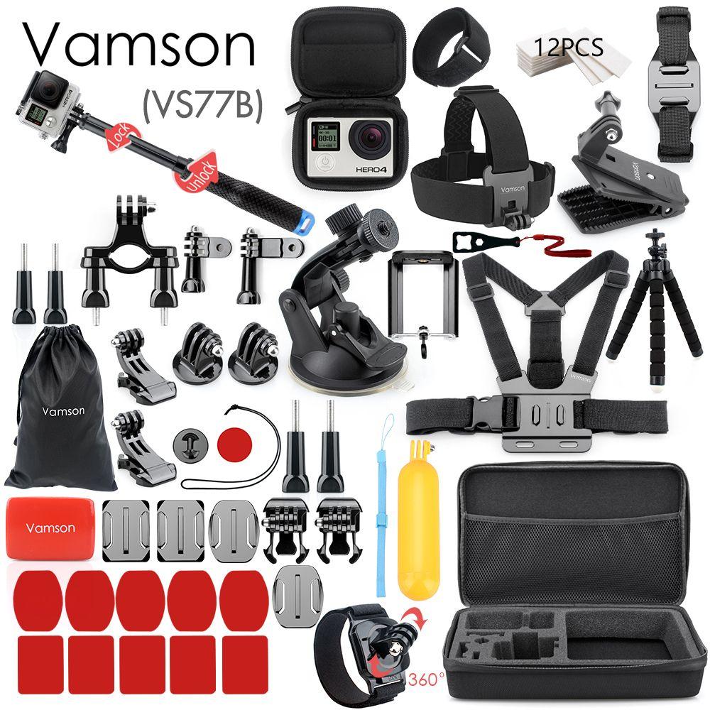Vamson for Gopro Accessories Set for go pro hero 8 7 6 5 4 kit 3 way selfie stick for Eken h8r / for xiaomi for yi EVA case VS77