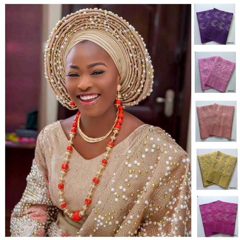 Newest Multi-Colored African Aso Oke Women Headtie Length 2M With Stones African Headtie Scraf Wrapper For Lady 30