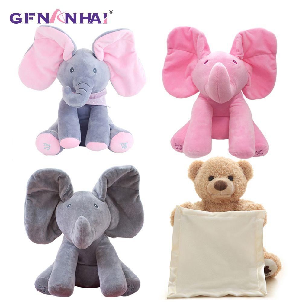 1 pc 30 cm Peek A Boo Elephant & Ours jouets En Peluche Poupée Jouer de La Musique Éducatif Éléphant Anti -le stress Jouet Pour Enfants