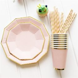 8pcs/set Gold Foil Pink Disposable Tableware Christmas New Year Party Paper Plates Cups Birthday Party Supplies Plastic Straws