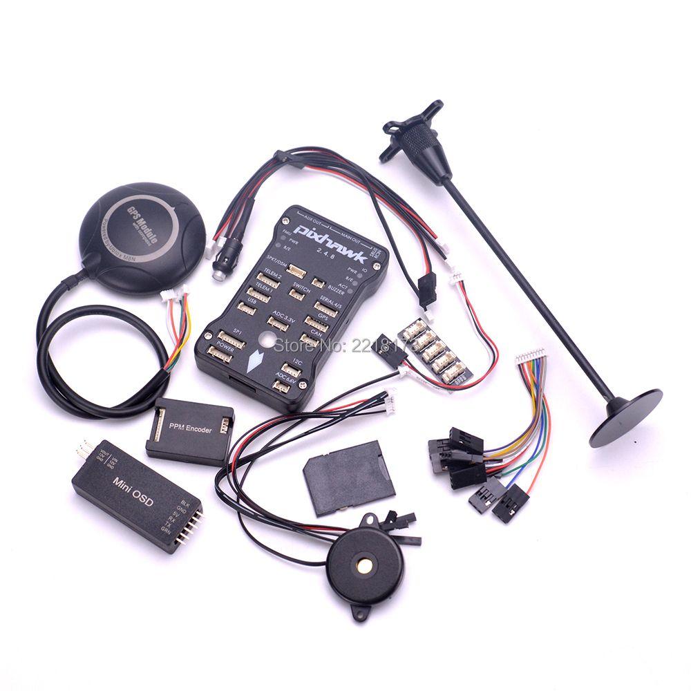 Pixhawk PX4 PIX 2.4.8 32 Bit Flight Controller board M8N GPS Minim OSD Safety Switch Buzzer PPM I2C For F450 S500 Quadcopter
