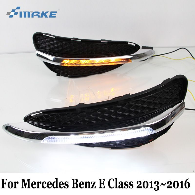 SMRKE DRL For Mercedes Benz E Classe W212 S212 E200 E300 E400 2013~2016 / 12V Car LED Daytime Running Lights With Cornering Lamp