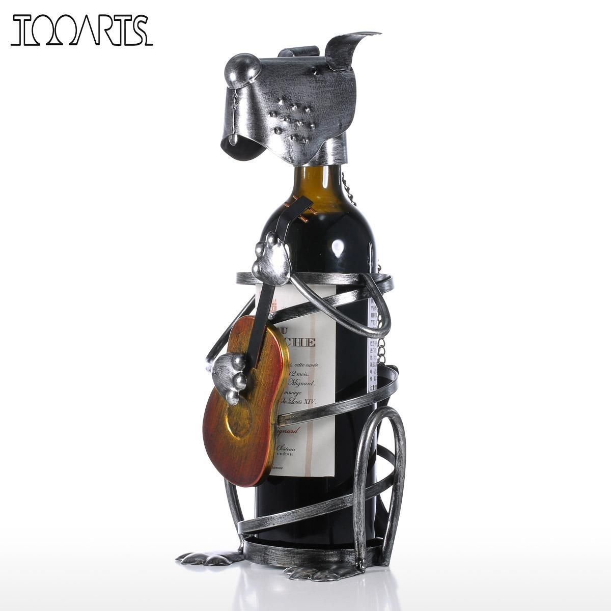 Tooarts Puppy Wine Rack with Music Band Modern Animal Figurine Wine Holders Creative Wine Stand Gift Home Decoration Accessories