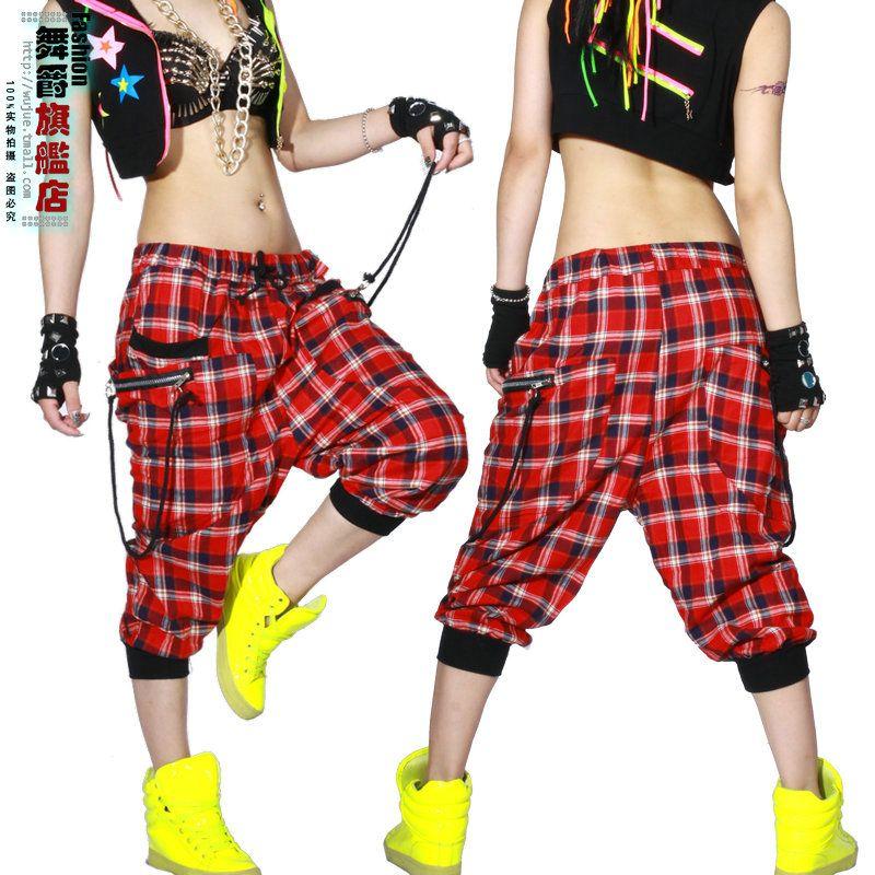 Enfants adultes femmes danse porter pantalon patchwork ds costume Capris pantalons de survêtement printemps été femme plaid harem Hip hop pantalon