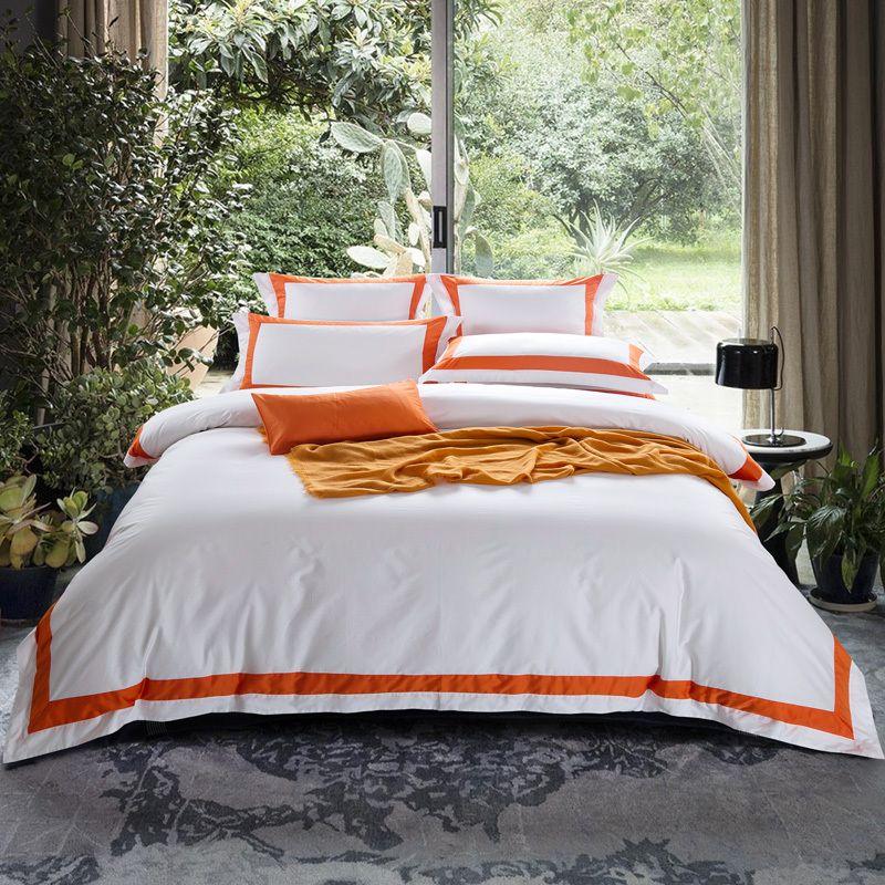 ARNIGU orange Streifen 100% Baumwolle Königin König Super König größe 4 stücke Hotel Bettwäsche set Flache/Ausgestattet Blatt + bettbezug + kissen fällen