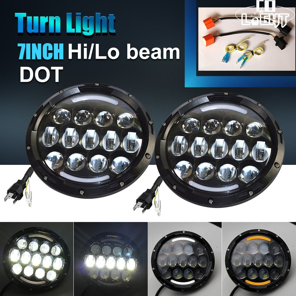 CO LICHT 7 Inch Runde LED Scheinwerfer 105 watt High/Low H4 12 v 24 v Auto Scheinwerfer Mit angel Eye DRL Für Jeep Wrangler Lada Niva Hummer