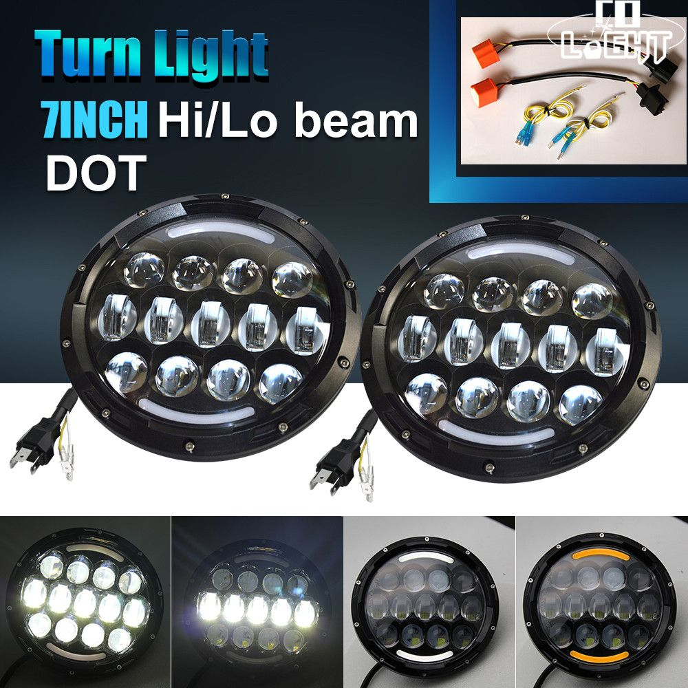 CO LIGHT 7Inch Round LED Headlights 105W High/Low H4 12V 24V Auto Headlamp With Angel Eye DRL For Jeep Wrangler Lada Niva Hummer