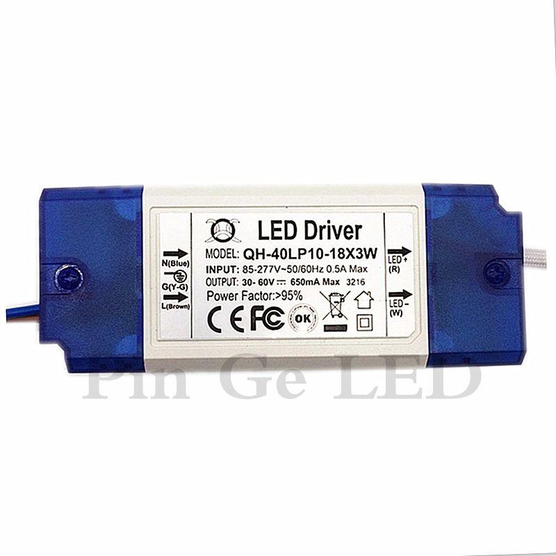 3 pièces D'isolement 20 W 30 W 40 W 85-277 V LED Conducteur 10-18x3W 650mA 700mA DC30-60V Haute PFC Transformateur D'alimentation pour lampe à LED