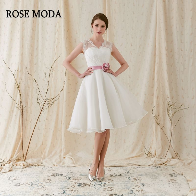 Rose Moda Fashion Short Wedding Dress 2018 with Pink Flower Sash V Neck Knee Length Beach Wedding Dresses with Lace Back