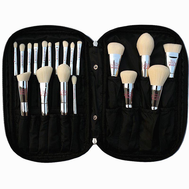 Professionnel 19 pcs Maquillage Brosse Set Live Beauté Entièrement Argent Cosmétique Brosses Kit avec Sac Visage Yeux Maquillage Collection
